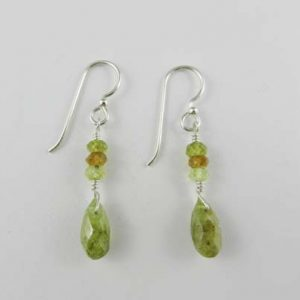 green garnet earrings, green garnets, garnet and silver earrings, wire wrapped silver, January birthstone, birthstone earrings, garnets, green garnets, earrings, handcrafted earrings, artisan earrings, sterling silver earrings, wire wrapped sterling silver