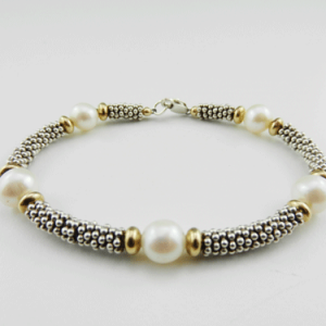 pearl and silver bracelet, sterling silver bracelet, pearl and gold bracelet, silver bracelet, gold and silver bracelet, birthstone bracelet, June birthstone, pearls, silver heishi beads, gold plated beads, lobster claw clasp