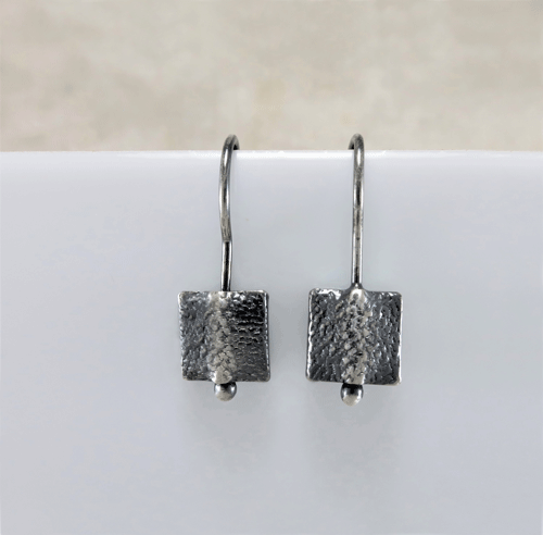 square earrings, geometric earrings, silver sleepers, sleeper earrings, silver earrings, sterling earrings, sterling silver earrings, artisan earrings, small drop earrings, tiny earrings, small earrings, lightweight earrings, everyday earrings, modern earrings, minimalist earrings, oxidized silver earrings, Zen earrings, Silver Echoes New Year's gift, New Years gift, Valentine's gift, Valentines gift, birthday gift, anniversary gift, Mother's Day gift, Mothers Day gift, Christmas gift, Hanukah gift, Kwanza gift, wedding gift, gifts for her, gift for her, gift for wife, women's gifts, womens gift bridesmaid gift, bridesmaid earrings, bridal gift, bridal earrings, bridal jewelry, wedding earrings, wedding jewelry, flower girl gift, flower girl earrings, mother of the bride earrings, mother of the bride gift