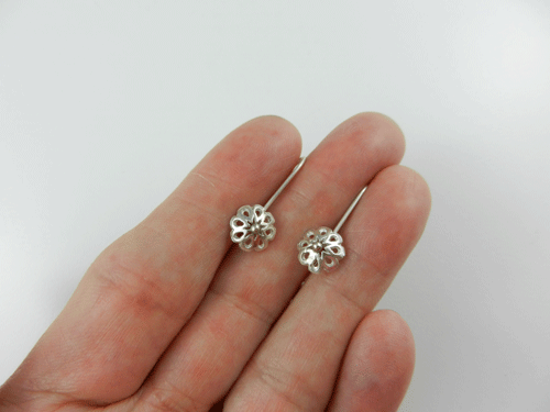Shiny Flowers Sterling Silver Sleeper Earrings Sweet Dreams Collection