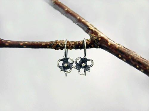 tender flowers, flower earrings, silver flower earrings, sterling flower earrings, sterling silver flower earrings, silver earrings, sterling earrings, sterling silver earrings, sleepers, sleeper earrings, silver sleepers, Silver Echoes, lightweight earrings, modern earrings, minimalist earrings, dangle earrings, small drop earrings, tiny earrings, small earrings, tiny silver earrings, argentium ear wires, argentium silver earrings, argentium earrings, artisan earrings, jewelry, artisan jewelry, handcrafted earrings, handmade earrings, Mother's Day gift, birthday gift, Christmas gift, Valentines gift, bridal earrings, wedding earrings, bride earrings, bridesmaid earrings, gifts for her