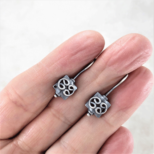 geometric earrings, square bead earrings, bead earrings, scrollwork earrings, sleeper earrings, silver earrings, sterling earrings, sterling silver earrings, artisan earrings, flower earrings, shamrock earrings, nature earrings, small drop earrings, tiny earrings, small earrings, lightweight earrings, everyday earrings, modern earrings, minimalist earrings, oxidized silver earrings, Zen earrings, Silver Echoes New Year's gift, New Years gift, Valentine's gift, Valentines gift, birthday gift, anniversary gift, Mother's Day gift, Mothers Day gift, Christmas gift, Hanukah gift, Kwanza gift, wedding gift, gifts for her, gift for her, gift for wife, women's gifts, womens gift bridesmaid gift, bridesmaid earrings, bridal gift, bridal earrings, bridal jewelry, wedding earrings, wedding jewelry, flower girl gift, flower girl earrings, mother of the bride earrings, mother of the bride gift