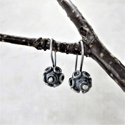 circles galore, bead earrings, silver earrings, sterling earrings, sleeper earrings, silver sleepers, tiny earrings, small earrings, small drop earrings, dangle earrings, everyday earrings, lightweight earrings, favorite earrings, artisan earrings, handmade earrings, handcrafted earrings, Zen earrings, minimalist earrings, modern earrings, Silver Echoes New Year's gift, Valentine's gift, Valentines gift, birthday gift, Mother's Day gift, Mothers Day gift, anniversary gift, wedding gift, Christmas gift, Hanukah gift, Kwanza gift, gift for her, gifts for her, gift for wife bridesmaid gift, bridesmaid earrings, flower girl earrings, flower girl gift, wedding earrings, wedding jewelry, bridal earrings, bridal jewelry, mother of the bride earrings