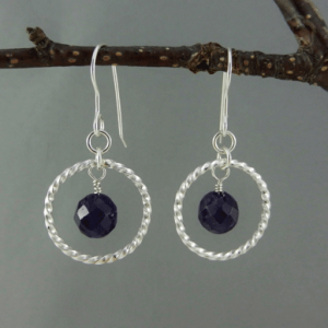 amethyst and silver earrings, amethyst earrings, silver earrings, sterling silver earrings, hoops, small hoops, twisted silver, twisted sterling silver, sterling silver ear wires, artisan earrings, handmade earrings, handcrafted earrings, metalwork, handcrafted, handmade, February birthstone, birthstone earrings