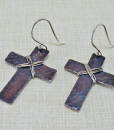 copper earrings, copper cross earrings, cross earrings, rustic earrings, rustic copper earrings, rustic cross earrings, boho earrings, boho copper earrings, primitive earrings, primitive copper earrings, silver earrings, Silver Echoes, silver earrings, sterling silver earrings, sterling earrings, mixed metal earrings, mixed metal cross earrings, summer earrings, hammered copper earrings, argentium ear wires, lightweight earrings, minimalist earrings, everyday earrings, modern earrings, drop earrings, dangle earrings, minimalist copper earrings, modern copper earrings, copper artisan earrings, handcrafted copper earrings, artisan earrings, handcrafted earrings, handmade earrings Mother's Day gift, birthday gift, Christmas gift, Valentines gift, anniversary gift, Kwanza gift, Hanukah gift, gifts for her, simple earrings, simple copper earrings, modern earrings, modern copper earrings, lightweight copper earrings