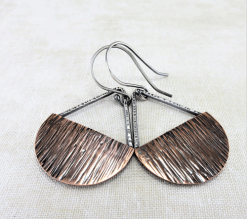 mixed metal copper dangle earrings, half moon earrings, copper earrings, silver earrings, mixed metal earrings, dangle earrings, large drop earrings, rustic earrings, primitive earrings, geometric earrings, statement earrings, disc earrings, simple earrings, Silver Echoes artisan earrings, sterling earrings, boho earrings, circle earrings, half circle earrings, casual earrings, summer earrings, handmade earrings, handcrafted earrings, minimalist earrings, modern earrings, everyday earrings, lightweight earrings New Year gift, Valentine gift, birthday gift, Mother's day gift, anniversary gift, Christmas gift, Kwanza gift, Hanukah gift, bridesmaid gifts, gifts for her, gifts for women, Zen earrings, grounding earrings, earth earrings, energy earrings