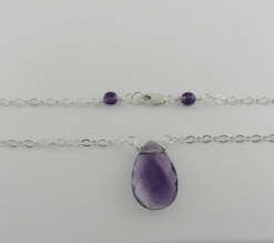 faceted teardrop, amethyst and silver necklace, amethyst and sterling silver necklace, amethyst necklace, silver necklace, sterling silver necklace, handmade, handcrafted, artisan, handmade necklace, handcrafted necklace, artisan necklace, February birthstone necklace, birthstone necklace, wire wrapped, wire wrapped sterling silver, wire wrapped silver, sterling silver lobster claw clasp, silver lobster claw clasp, birthstone necklace, February birthstone, birthstone collection, Sharon Joy Designs, lariat necklace, lariat, handmade amethyst necklace, handcrafted amethyst necklace, facetted teardrop