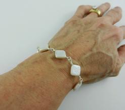 pearl, pearl bracelet, pearl and silver bracelet, silver bracelet, sterling silver bracelet, pearl and silver bracelet, pearl and sterling silver bracelet, artisan bracelet, toggle clasp, sterling silver toggle clasp, sterling silver jewelry, silver jewelry, wire wrapped silver, wire wrapped sterling silver, flat square beads, flat square pearls