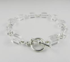quartz, quartz bracelet, quartz and silver bracelet, silver bracelet, sterling silver bracelet, quartz and silver bracelet, quartz and sterling silver bracelet, artisan bracelet, toggle clasp, sterling silver toggle clasp, sterling silver jewelry, silver jewelry, wire wrapped silver, wire wrapped sterling silver, square beads, square quartz