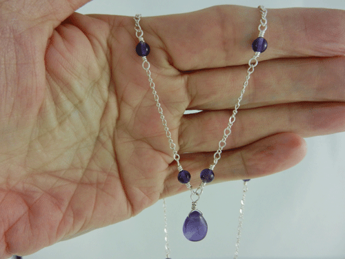 smooth teardrop, amethyst and silver necklace, amethyst and sterling silver necklace, amethyst necklace, silver necklace, sterling silver necklace, handmade, handcrafted, artisan, handmade necklace, handcrafted necklace, artisan necklace, February birthstone necklace, birthstone necklace, wire wrapped, wire wrapped sterling silver, wire wrapped silver, sterling silver lobster claw clasp, silver lobster claw clasp, birthstone necklace, February birthstone, birthstone collection, Sharon Joy Designs, lariat necklace, lariat, handmade amethyst necklace, handcrafted amethyst necklace