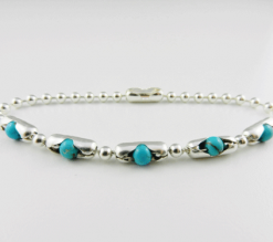 Turquoise Bracelet Sterling Silver Pop Beads Home Gemstones