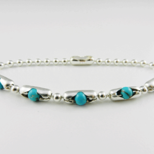 turquoise and silver bracelet, sterling silver bracelet, turquoise bracelet, sterling silver pop beads, pop bead bracelet, handcrafted, artisan jewelry, silver bracelet, turquoise beads, connector clasp