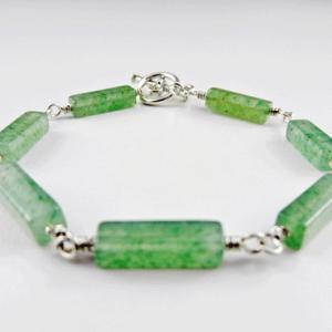 aventurine bracelet, aventurine jewelry, green jewelry, green bracelet, aventurine and silver bracelet, silver and aventurine bracelet, silver bracelet, sterling bracelet, sterling silver bracelet, silver toggle bracelet, crystal bracelet, Silver Echoes, wire wrapped bracelet, wire wrapped sterling silver bracelet, wire wrapped sterling bracelet, gemstone bracelet, gemstone jewelry, Reiki bracelet, Reiki jewelry, chakra bracelet, chakra jewelry, crystal jewelry, energy bracelet, energy jewelry, power bracelet, power jewelry, healing bracelet, healing jewelry, artisan bracelet, handmade bracelet, handcrafted bracelet, birthday gift, Valentines gift, Mother's Day gift, Christmas gift, gift for her, artisan jewelry