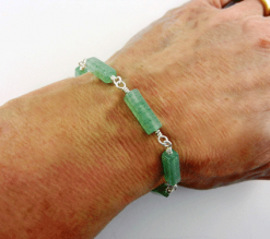 aventurine bracelet, aventurine jewelry, green jewelry, green bracelet, aventurine and silver bracelet, silver and aventurine bracelet, silver bracelet, sterling bracelet, sterling silver bracelet, silver toggle bracelet, crystal bracelet, Silver Echoes, wire wrapped bracelet, wire wrapped sterling silver bracelet, wire wrapped sterling bracelet, gemstone bracelet, gemstone jewelry, Reiki bracelet, Reiki jewelry, chakra bracelet, chakra jewelry, crystal jewelry, energy bracelet, energy jewelry, power bracelet, power jewelry, healing bracelet, healing jewelry, artisan bracelet, handmade bracelet, handcrafted bracelet, birthday gift, Valentines gift, Mother's Day gift, Christmas gift, gift for her, artisan jewelry