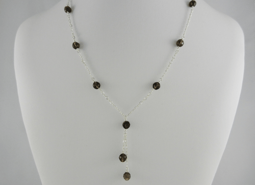 lariat style, smoky quartz and silver necklace, smoky quartz and sterling silver necklace, smoky quartz necklace, silver necklace, sterling silver necklace, handmade, handcrafted, artisan, handmade necklace, handcrafted necklace, artisan necklace, wire wrapped, wire wrapped sterling silver, wire wrapped silver, sterling silver lobster claw clasp, silver lobster claw clasp, birthstone necklace, Sharon Joy Designs, lariat necklace, lariat, handmade smoky quartz necklace, handcrafted smoky quartz necklace, facetted teardrop