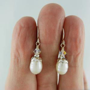 pearls, freshwater pearls, pearl earrings, freshwater pearl earrings, Swarovski crystals, pearl and crystal earrings, pearl and silver earrings, pearl and sterling silver earrings, small earrings, sterling silver earrings, birthstone earrings, June birthstone, June birthstone earrings, birthstone collection, petite pearl