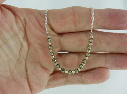 pyrite, gold coated pyrite, pyrite necklace, pyrite and silver necklace, gold coated pyrite necklace, gold coated pyrite and silver necklace, silver necklace, sterling silver necklace, artisan necklace, handmade necklace, handcrafted necklace, wire wrapped, wire wrapped sterling silver, wire wrapped silver, sterling silver lobster claw clasp, silver lobster claw clasp, Sharon Joy Designs