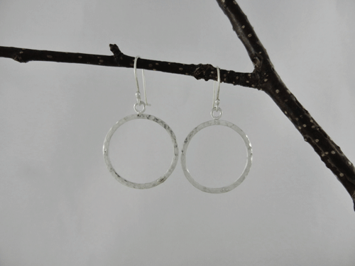 silver earrings, silver hoops, medium hoops, hammered silver, handcrafted earrings, handmade earrings, artisan earrings, metalwork, dangle earrings, argentium ear wires