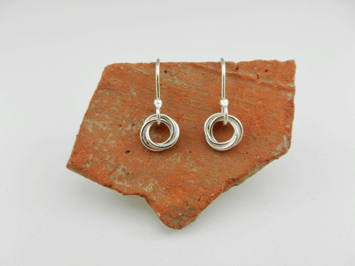 layered circles, sterling silver earrings, silver earrings, artisan earrings, handmade earrings, handcrafted earrings, handmade silver earrings, handcrafted silver earrings, silver artisan earrings, argentium ear wires, sterling argentium ear wires, sleepers, tiny earrings, sweet dreams collection, sleeper earrings