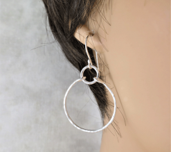 sterling silver hoop earrings, gift for her, lightweight dangle earrings, round silver hoops, minimalist earring sterling earrings, silver earrings, triangular earrings, geometric earrings, drop earrings, dangle earrings, minimalist earrings, lightweight earrings, modern earrings, simple earrings, everyday earrings, statement earrings, Silver Echoes artisan earrings, hammered silver earrings, handmade earrings, handcrafted earrings, oxidized silver earrings, hammered silver earrings, simple earrings, Zen earrings, boho earrings, gypsy earrings, argentium ear wires, elegant earrings gifts for her, bridesmaid gifts, bridesmaid earrings, bridal earrings, wedding earrings, wedding jewelry, anniversary gift, birthday gift, wedding gift, Mother's Day gift, Mothers Day gift, Valentine's gift, Valentines gift, Kwanza gift, Hanukah gift