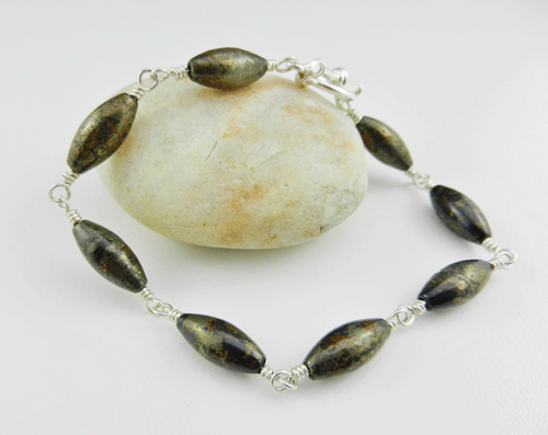marquise beads, pyrite, pyrite bracelet, pyrite and silver bracelet, silver bracelet, sterling silver bracelet, pyrite and silver bracelet, pyrite and sterling silver bracelet, artisan bracelet, artisan silver bracelet, artisan sterling silver bracelet, toggle clasp, sterling silver toggle clasp, silver toggle clasp, sterling silver jewelry, silver jewelry, wire wrapped silver, wire wrapped sterling silver, oval beads, gold beads