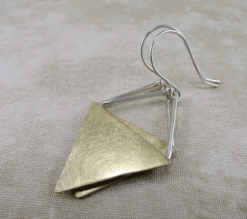 triangle earrings, geometric earrings, brass earrings, silver earrings, sterling earrings, sterling silver earrings, mixed metal earrings, geometric earrings, triangle earrings, gold earrings, argentium ear wires, minimalist earrings, Silver Echoes argentium ear wires, everyday earrings, modern earrings, drop earrings, dangle earrings, long dangle earrings, minimalist silver earrings, modern silver earrings, silver drop earrings, silver artisan earrings, artisan earrings, silver artisan earrings sterling artisan earrings, brass artisan earrings, handmade brass earrings, handcrafted brass earrings, Mother's Day gift, birthday gift, Christmas gift, Valentines gift, gifts for her, simple earrings, modern earrings, lightweight brass earrings