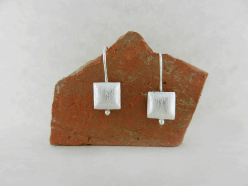 silver, silver earrings, sterling silver earrings, artisan earrings, artisan silver earrings, artisan sterling silver earrings, handmade earrings, handmade silver earrings, handmade sterling silver earrings, handcrafted earrings, handcrafted silver earrings, handcrafted sterling silver earrings, argentium ear wires, argentium silver ear wires, oxidized silver earrings, oxidized sterling silver earrings, beads, square beads, brushed squares, minimalist earrings, itty bitty earrings, small earrings, tiny earrings, Sweet Dreams Sleeper Collection