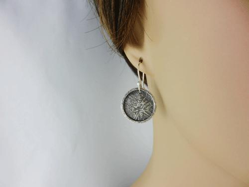 silver earrings, sterling silver earrings, artisan earrings, artisan silver earrings, artisan sterling silver earrings, handmade earrings, handmade silver earrings, handmade sterling silver earrings, handcrafted earrings, handcrafted silver earrings, handcrafted sterling silver earrings, argentium ear wires, argentium silver ear wires, argentium silver, geometric earrings, circle earrings, disc earrings, circular earrings, reticulated silver, reticulated sterling silver, reticulated discs, reticulated earrings, Reticulation Collection, reticulated silver earrings, reticulated sterling silver earrings, framed reticulated discs, framed reticulated silver