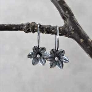 sleeper earrings, silver earrings, sterling earrings, flower earrings, nature earrings, tiny earrings, small drop earrings, dangle earrings, small earrings, minimalist earrings, modern earrings, lightweight earrings, everyday earrings, artisan earrings, Zen earrings, favorite earrings, go to earrings, handmade earrings, handcrafted earrings, Silver Echoes New Year's gift, Valentine's gift, Valentines gift, birthday gift, Mother's Day gift, Mothers Day gift, anniversary gift, wedding gift, Christmas gift, Hanukah gift, Kwanza gift, gift for her, gifts for her, gift for wife bridesmaid gift, bridesmaid earrings, flower girl earrings, flower girl gift, wedding earrings, wedding jewelry, bridal earrings, bridal jewelry, mother of the bride earrings