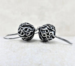 oxidized beads, bead earrings, silver earrings, sterling earrings, sleeper earrings, silver sleepers, tiny earrings, small earrings, small drop earrings, dangle earrings, everyday earrings, lightweight earrings, favorite earrings, artisan earrings, handmade earrings, handcrafted earrings, Zen earrings, minimalist earrings, modern earrings, Silver Echoes New Year's gift, Valentine's gift, Valentines gift, birthday gift, Mother's Day gift, Mothers Day gift, anniversary gift, wedding gift, Christmas gift, Hanukah gift, Kwanza gift, gift for her, gifts for her, gift for wife bridesmaid gift, bridesmaid earrings, flower girl earrings, flower girl gift, wedding earrings, wedding jewelry, bridal earrings, bridal jewelry, mother of the bride earrings