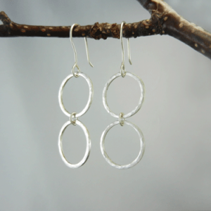 silver earrings, double hoop dangle, hoop earrings, drop earrings, hoop dangles, drop hoops, dangle hoops, Sharon Joy Designs, hammered silver, hammered silver earrings, artisan earrings, handmade earrings, handmade silver earrings, artisan silver earrings, metalwork earrings, sterling silver earrings, circle earrings, silver circles, silver circle earrings