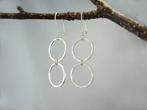 Silver Earrings Double Hoop Dangle Drop Dangles