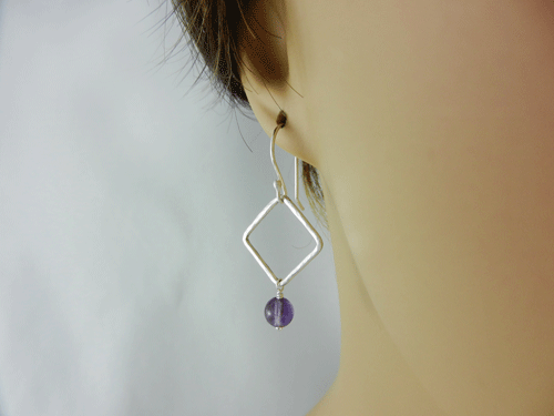 Square Dangles Amethyst And Silver Earrings Sterling