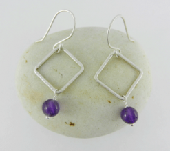 square dangles, amethyst and silver earrings, amethyst earrings, silver earrings, sterling silver earrings, square hoops, small hoops, hammered silver, argentium silver ear wires, artisan earrings, handmade earrings, handcrafted earrings, artisan amethyst earrings, handmade amethyst earrings, handcrafted amethyst earrings, metalwork, handcrafted, handmade, artisan, wire wrapped sterling silver, Birthstone Collection, February birthstone, birthstone earrings, square dangle