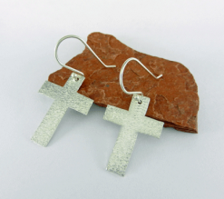 silver earrings, cross earrings, religious earrings, minimalist earrings, silver cross earrings, dangle earrings, lightweight earrings, everyday earrings, drop earrings, hammered silver earrings, Mother's Day gift, Valentine's gift, Christmas gift, birthday gift, artisan earrings, modern earrings, Silver Echoes