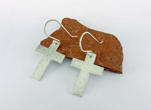 Silver Earrings Cross Religious Minimalist