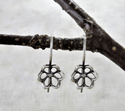 cutwork flower earrings, sleeper earrings, silver earrings, sterling earrings, flower earrings, nature earrings, tiny earrings, small drop earrings, dangle earrings, small earrings, minimalist earrings, modern earrings, lightweight earrings, everyday earrings, artisan earrings, Zen earrings, favorite earrings, go to earrings, handmade earrings, handcrafted earrings, Silver Echoes New Year's gift, Valentine's gift, Valentines gift, birthday gift, Mother's Day gift, Mothers Day gift, anniversary gift, wedding gift, Christmas gift, Hanukah gift, Kwanza gift, gift for her, gifts for her, gift for wife bridesmaid gift, bridesmaid earrings, flower girl earrings, flower girl gift, wedding earrings, wedding jewelry, bridal earrings, bridal jewelry, mother of the bride earrings