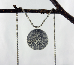 silver necklace, moonscape necklace, reticulated silver, silver moon pendant, full moon necklace, lunar necklace, reticulated moon, artisan necklace, pendant necklace, Valentine's gift, Christmas gift, Mother's Day gift, Birthday gift, gifts for her, silver pendant, solid sterling silver, sterling silver necklace, sterling silver pendant, Silver Echoes