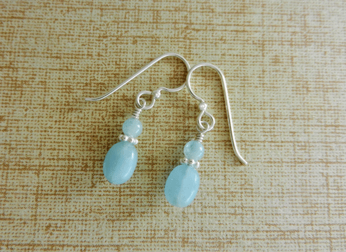 Aquamarine Earrings Small Drop Birthstone Bridal Something Blue