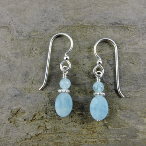 aquamarine earrings, small drop earrings, birthstone earrings, bridal earrings, something blue earrings, wedding earrings, gemstone earrings, sterling earrings, silver earrings, March birthstone earrings, Mother's Day gift, Valentine's gift, Christmas gift, birthday gift, artisan earrings, Silver Echoes