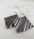 rustic geometric earrings, copper earrings, mixed metal earrings, geometric earrings, square earrings, small drop earrings, dangle earrings, minimalist earrings, Zen earrings, lightweight earrings, everyday earrings, argentium silver earrings, modern earrings, organic earrings, rustic earrings, primitive earrings, tribal earrings, summer earrings, favorite earrings, playful earrings, handmade earrings, handcrafted earrings, artisan earrings, Silver Echoes bridesmaid gift, wedding gift, bridesmaid earrings, wedding earrings, flower girl gift, flower girl earrings, bridal earrings, wedding earrings, bridal jewelry, wedding jewelry, mother of the bride gift, mother of the bride earrings, mother of the bride jewelry wedding gift, anniversary gift, birthday gift, New Year's gift, Valentine's gift, Valentines gift, Mother's Day gift, Mothers Day gift, Christmas gift, Hanukah gift, Kwanza gift, gifts for her, gifts for wife