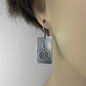 silver earrings, dangle earrings, spiral earrings, geometric jewelry, geometric earrings, rectangular earrings, black earrings, argentium ear wires, artisan earrings, lightweight earrings, everyday earrings, minimalistic earrings, modern earrings, Mother's Day gift, Valentines gift, birthday gift, Christmas gift, dangle earrings, drop earrings, minimalist earrings, black silver, Silver Echoes