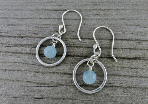 aquamarine earrings, blue earrings, something blue, hoop earrings, silver earrings, sterling earrings, sterling silver earrings, wedding earrings, bridal earrings, gemstone earrings, dangle earrings, argentium ear wires, minimalist earrings, Silver Echoes, drop earrings, March birthstone, birthstone earrings, argentium ear wires, everyday earrings, modern earrings, lightweight earrings, silver drop earrings, artisan earrings, handcrafted earrings, handmade earrings, wedding gift, bridal gift, Mother's Day gift, birthday gift, Christmas gift, Valentines gift, gifts for her, simple earrings, simple silver earrings, Zen earrings, Reiki earrings, healing earrings, Mother of the Bride, bridesmaid earrings