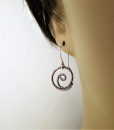 Copper Earrings ~ Spiral Earrings ~ Rustic Earrings ~ Dangle Earrings ~ Everyday Earrings ~ Small Drop Earrings ~ Lightweight Earring 2