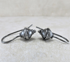 fat bicone bead earrings, sleeper earrings, silver sleepers, silver earrings, sterling earrings, itty bitty earrings, small earrings, tiny earrings, minimalist earrings, modern earrings, lightweight earrings, everyday earrings, artisan earrings, favorite earrings, go to earrings, handcrafted earrings, handmade earrings, Zen earrings, Silver Echoes bridesmaid gift, bridesmaid earrings, flower girl earrings, flower girl gift, wedding earrings, wedding jewelry, bridal earrings, bridal jewelry, mother of the bride earrings, mother of the bride jewelry New Year's gift, Valentine's gift, Valentines gift, birthday gift, Mother's Day gift, Mothers Day gift, anniversary gift, wedding gift, Christmas gift, Hanukah gift, Kwanza gift, gift for her, gifts for her, gift for wife