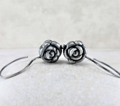 silver rose earrings, flower earrings, sleeper earrings, silver earrings, sterling earrings, sterling silver earrings, artisan earrings, nature earrings, small drop earrings, tiny earrings, small earrings, lightweight earrings, everyday earrings, modern earrings, minimalist earrings, Zen earrings, Silver Echoes New Year's gift, New Years gift, Valentine's gift, Valentines gift, birthday gift, anniversary gift, Mother's Day gift, Mothers Day gift, Christmas gift, Hanukah gift, Kwanza gift, wedding gift, gifts for her, gift for her, gift for wife, women's gifts, womens gift bridesmaid gift, bridesmaid earrings, bridal gift, bridal earrings, bridal jewelry, wedding earrings, wedding jewelry, flower girl gift, flower girl earrings, mother of the bride earrings, mother of the bride gift