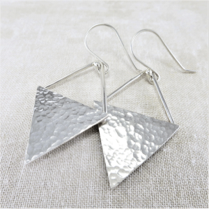hammered silver triangle earrings, sterling silver earrings, hammered silver earrings, triangular earrings, geometric earrings, drop earrings, dangle earrings, minimalist earrings, lightweight earrings, modern earrings, hippy earrings, simple earrings, everyday earrings, statement earrings, Silver Echoes artisan earrings, hammered earrings, handcrafted earrings, simple earrings, Zen earrings, boho earrings, gypsy earrings, argentium ear wires, elegant earrings, nickel free silver earrings bridesmaid gift, bridesmaid earrings, wedding gift, wedding earrings, wedding jewelry, bridal earrings, bridal jewelry, mother of the bride earrings, mother of the bride jewelry New Years gift, Valentine's gift, Mother's Day gift, birthday gift, anniversary gift, Christmas gift, Hanukah gift, Kwanza gift, gifts for her, gifts for wife, engagement gift