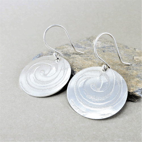 round silver spiral earrings, sterling silver earrings, hammered silver earrings, circle earrings, disc earrings, geometric earrings, drop earrings, dangle earrings, minimalist earrings, lightweight earrings, modern earrings, hippy earrings, simple earrings, everyday earrings, statement earrings, unique earrings, Silver Echoes artisan earrings, hammered earrings, handcrafted earrings, simple earrings, Zen earrings, boho earrings, gypsy earrings, argentium ear wires, elegant earrings, nickel free silver earrings bridesmaid gift, bridesmaid earrings, wedding gift, wedding earrings, wedding jewelry, bridal earrings, bridal jewelry, mother of the bride earrings, mother of the bride jewelry New Years gift, Valentine's gift, Mother's Day gift, birthday gift, anniversary gift, Christmas gift, Hanukah gift, Kwanza gift, gifts for her, gifts for wife, engagement gift