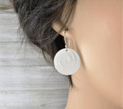 round silver spiral earrings, sterling silver earrings, hammered silver earrings, circle earrings, disc earrings, geometric earrings, drop earrings, dangle earrings, minimalist earrings, lightweight earrings, modern earrings, hippy earrings, simple earrings, everyday earrings, statement earrings, unique earrings, Silver Echoes artisan earrings, hammered earrings, handcrafted earrings, simple earrings, Zen earrings, boho earrings, gypsy earrings, argentium ear wires, elegant earrings, nickel free silver earrings bridesmaid gift, bridesmaid earrings, wedding gift, wedding earrings, wedding jewelry, bridal earrings, bridal jewelry, mother of the bride earrings, mother of the bride jewelry New Years gift, Valentine's gift, Mother's Day gift, birthday gift, anniversary gift, Christmas gift, Hanukah gift, Kwanza gift, gifts for her, gifts for wife, engagement gift